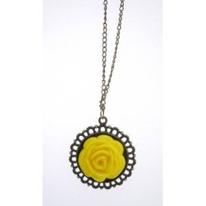 GOLDEN METAL CHAIN WITH A BIG YELLOW PLASTIC FLOWER NECKLACE
