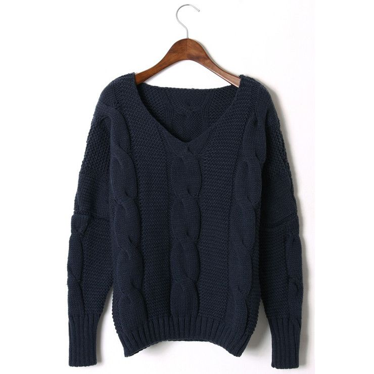 Classic Cable Sweater Navy / by Chicwish