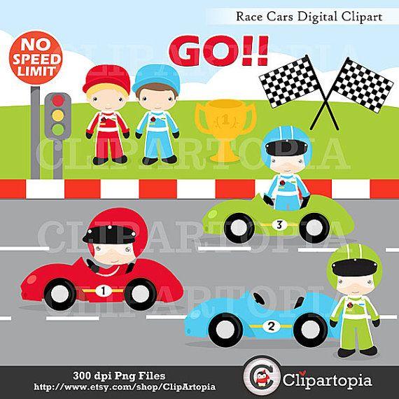 Race Cars Digital Clipart Racing Cars For By Clipartopia On Etsy 5 00 Coches De Carreras Carreras De Autos Carreras De Carros
