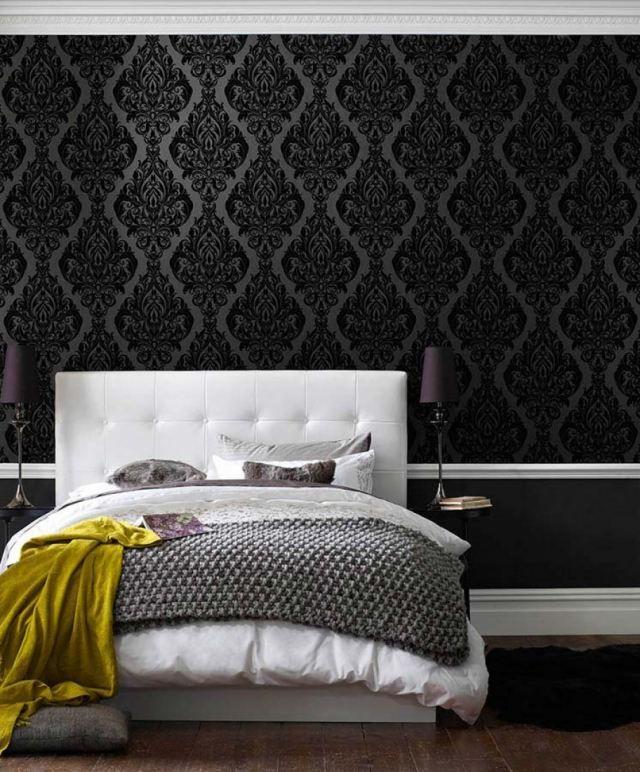 schlafzimmer tapeten schwarze farbe barock muster eshara | Möbel ...
