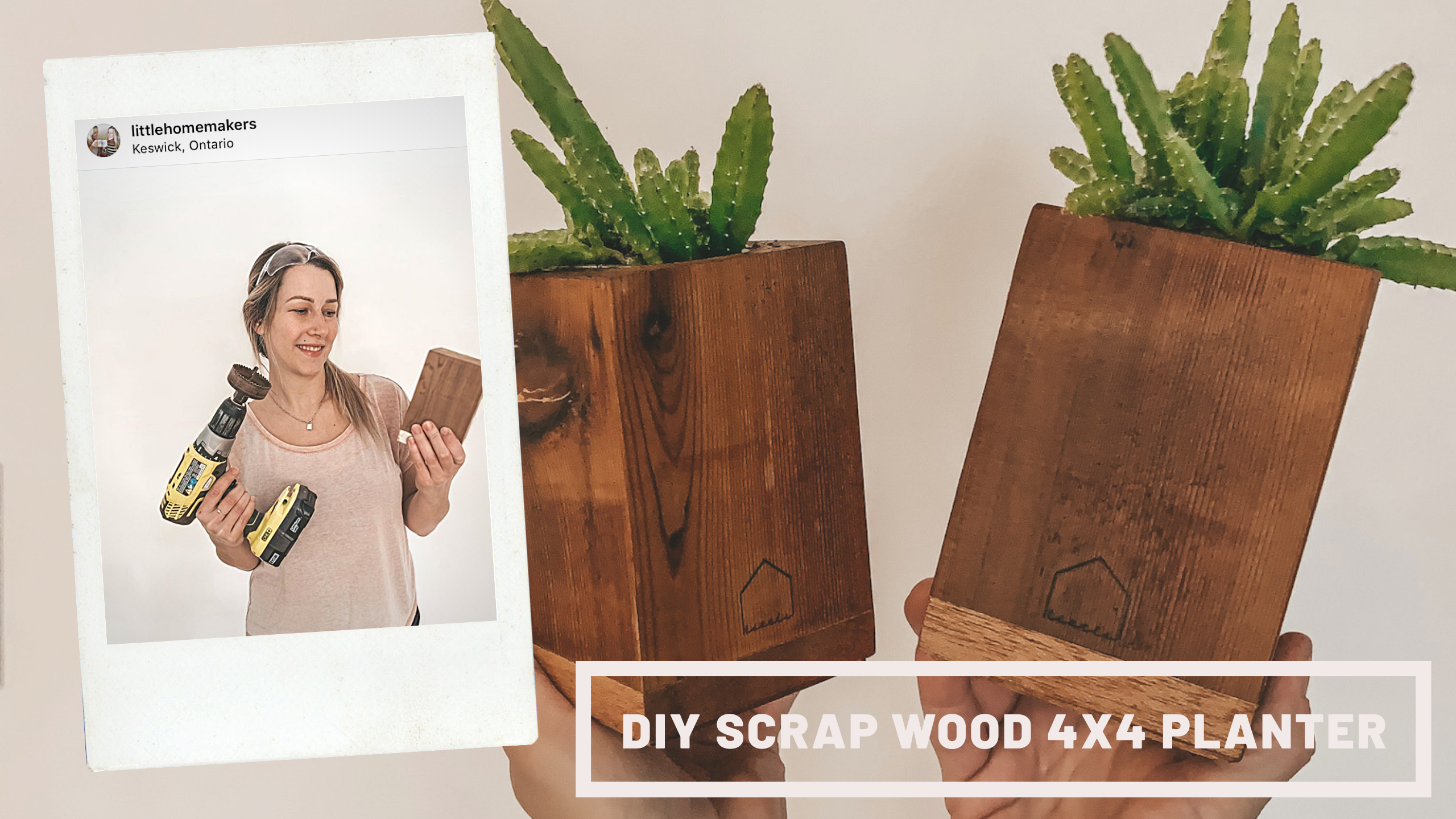 Just a few households tools and you can turn your scrap 4x4 posts into these adorable little planters! Follow us on IG for more #woodworking  inspo #howto #diyhomedecor #handmadehomedecor  #scrapwoodprojects #diyplanter