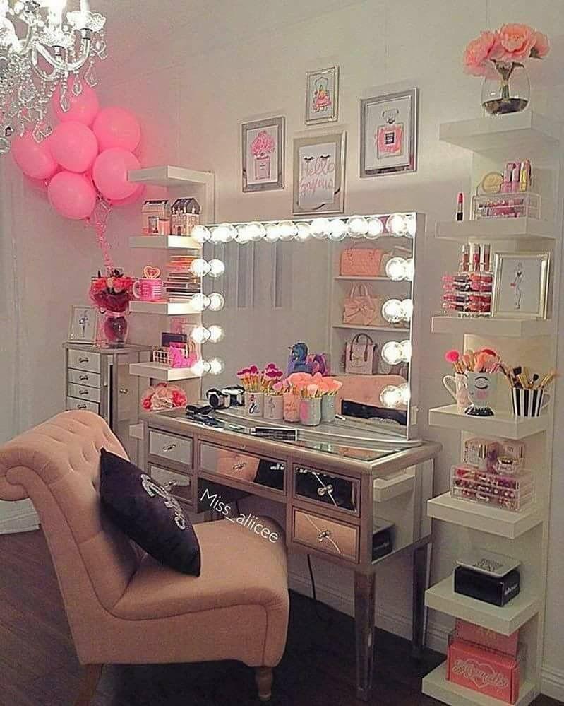 Love the vanity with lights and the Ikea shelves with the pops of ...