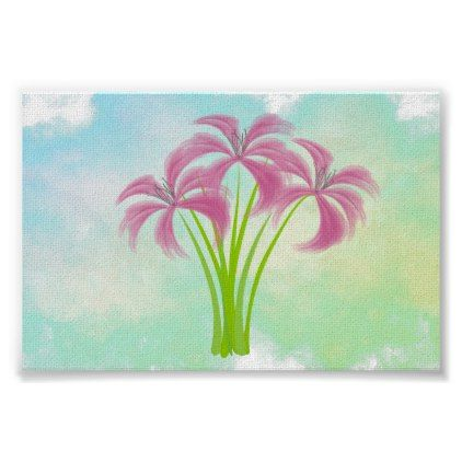cute pink lilies watercolor poster modern style idea design custom idea - Idea Design