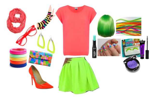 Fun Neon. by sydney24-hunter on Polyvore featuring Mercy Delta, Jimmy Choo, Alexis Bittar, L. Erickson, ZeroUV, Christina Choi Cosmetics, PaintGlow and Cirque Colors