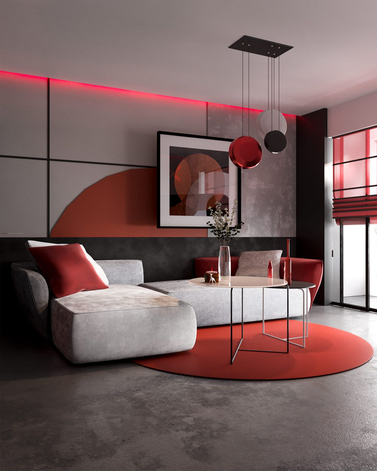 Modern Red And Grey Interiors With Japanese Influences Living Room Red Living Room Decor Gray Asian Interior Design #red #wall #living #room #ideas