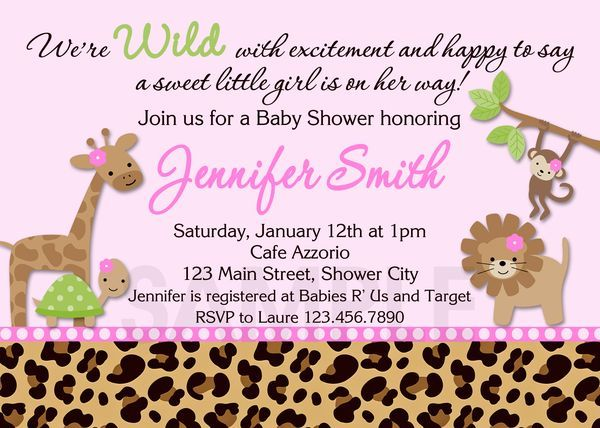 Throwing baby shower for girls baby shower invitation ideas jungle baby shower invitation safari jungle by thetrendybutterfly filmwisefo Images
