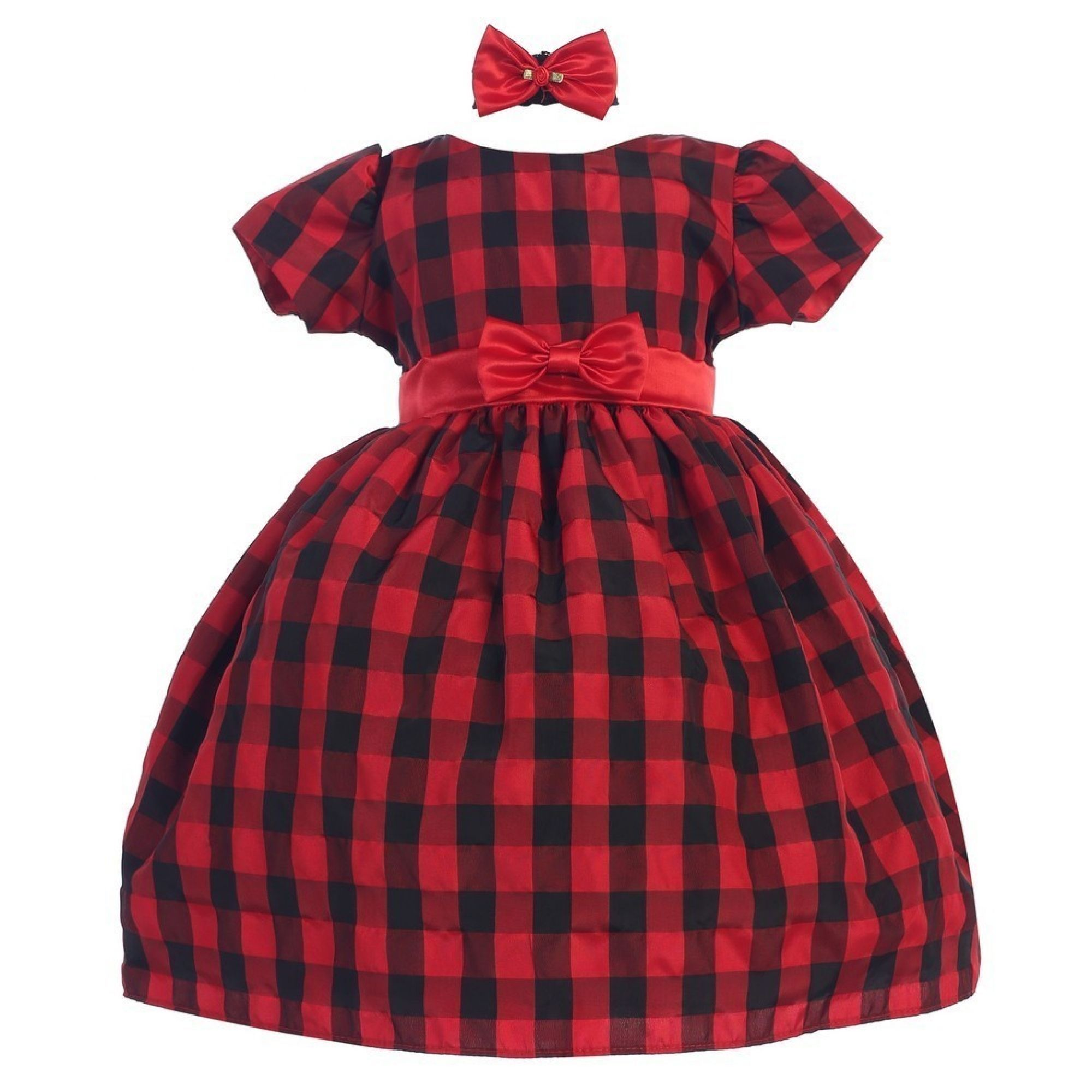 Baby Girls Red Bow Sash Headband Short Sleeve Plaid Christmas Dress