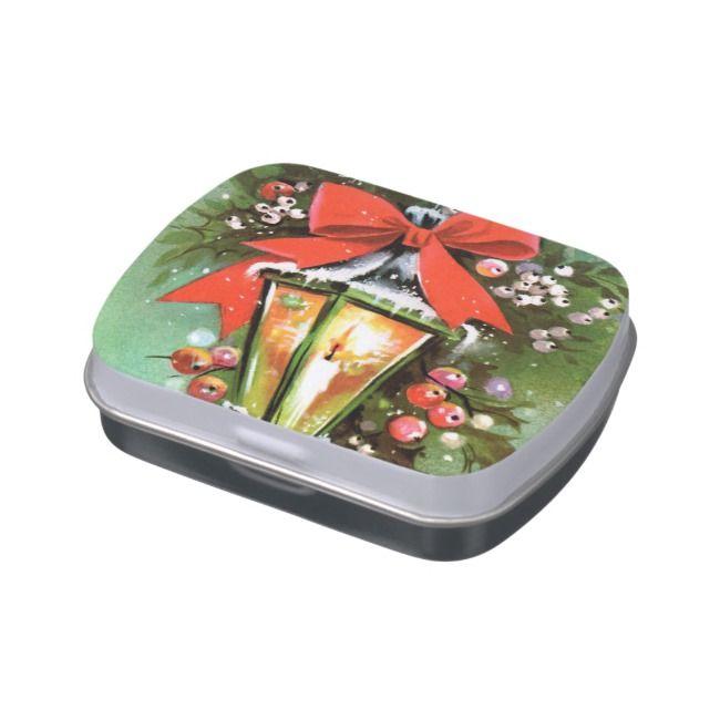 Retro Christmas Holiday lamp party mint tin |  Retro Christmas Holiday lamp party mint tin