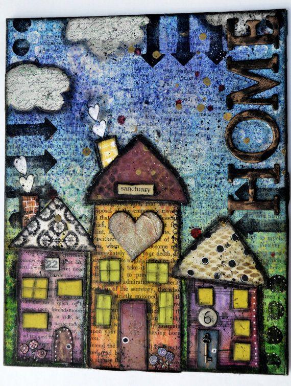 mixed media canvas, whimsical houses:  Artful Detour Etsy shop