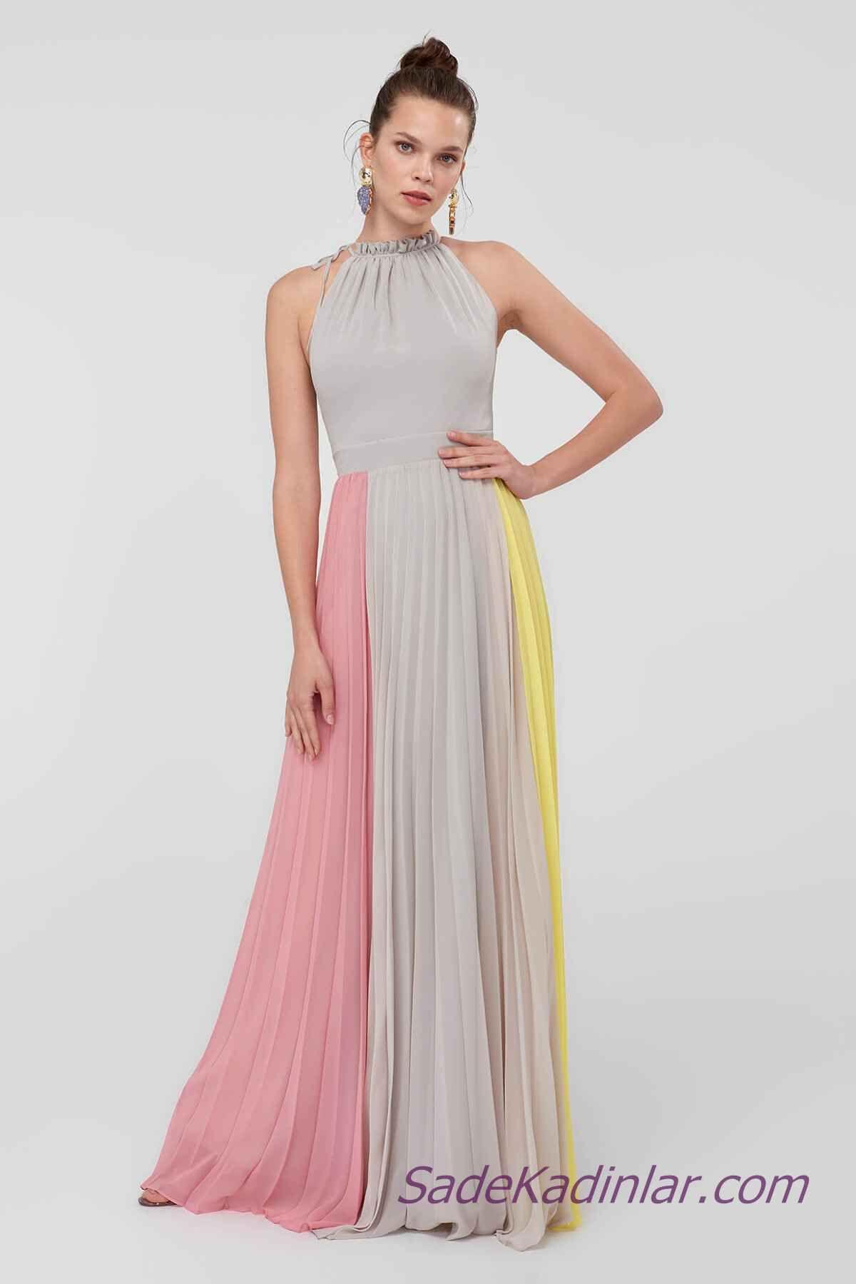 2021 Abiye Elbise Modelleri Gri Uzun Halter Yaka Sari Ve Pembe Renk Bloklu Elbise Modelleri Elbise The Dress