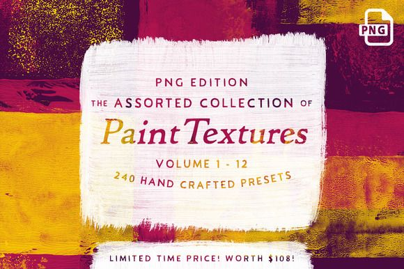 252 Assorted Real Paint Textures  by Tom Chalky on @creativemarket