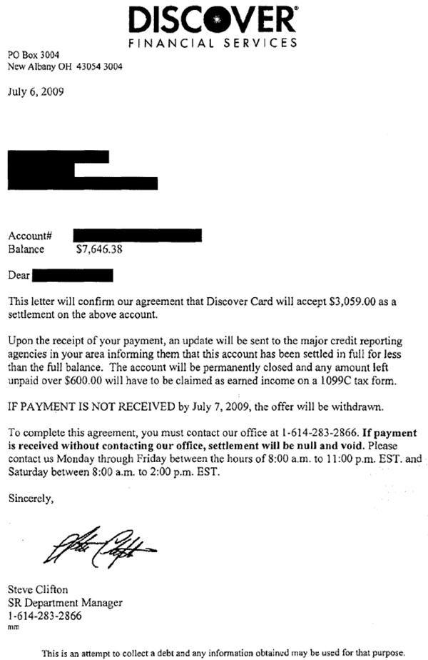 settlement letter examples