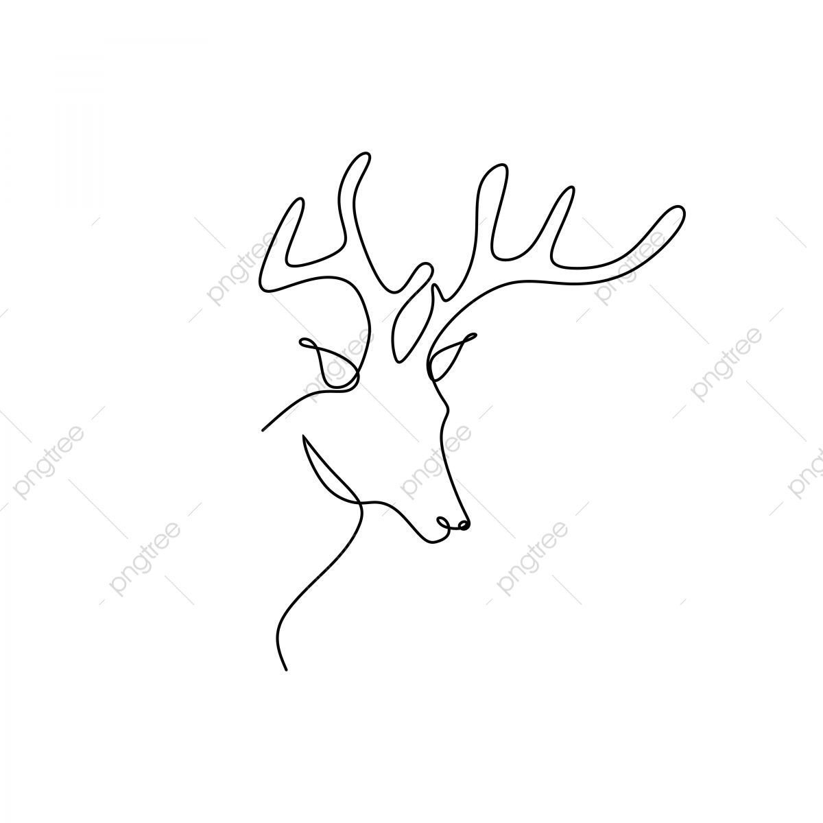 Continuous Line Drawing Of A Deer Head Line Icon Sketch Png And Vector With Transparent Background For Free Download Continuous Line Drawing Line Drawing Continuous Line