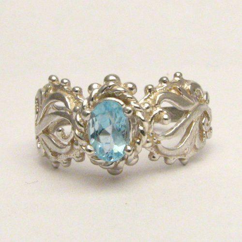 Handmade Sterling Silver Blue Apatite Filigree Ring 6x4mm .5ct
