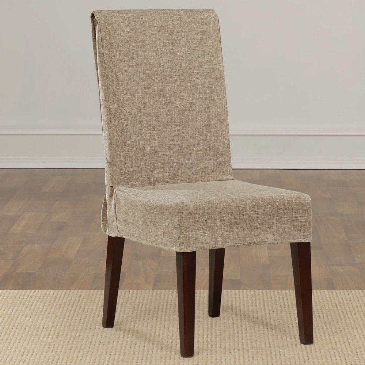 Sure Fit Soft Suede Shorty Dining Room Chair Slipcover Prepossessing Sure Fit Textured Linen Shorty Dining Room Chair Slipcover Sand Inspiration Design