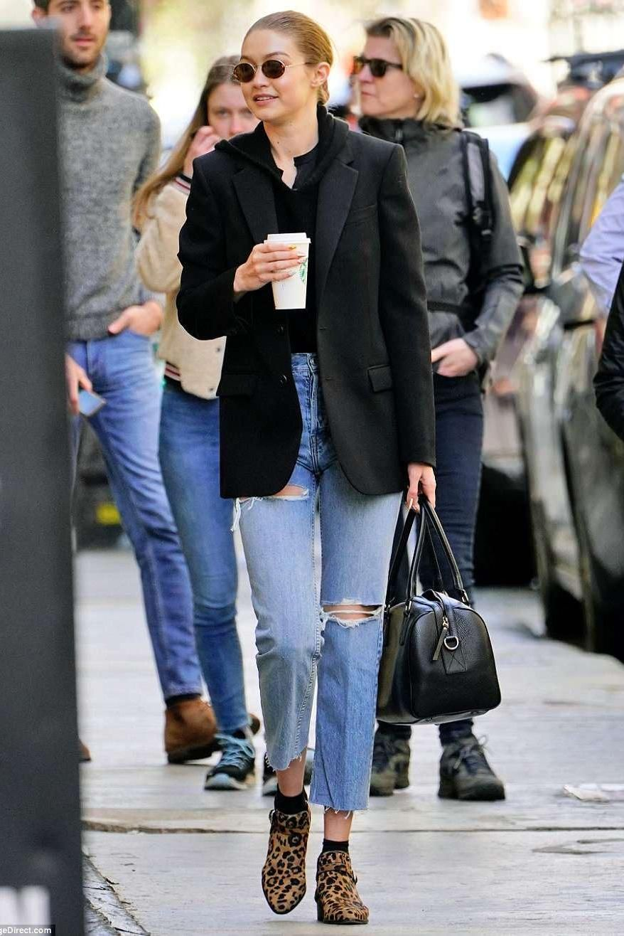 cd9b12fda71 Gigi Hadidi wearing Tabitha Simmons Gigi Ankle Boots