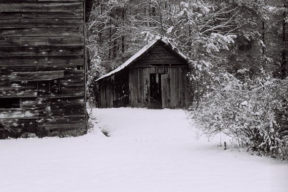 Barn Photograph snow 8x10  farm rustic country by Woodzart on Etsy, $28.00