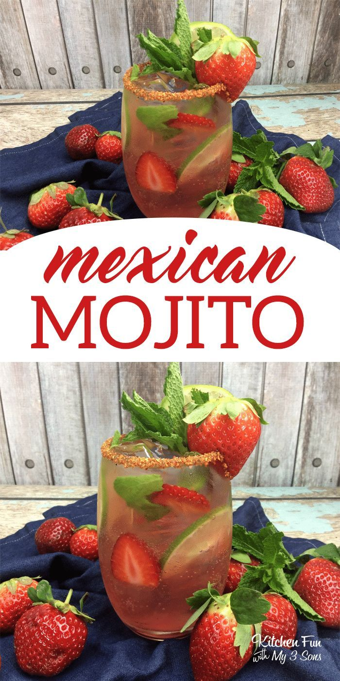 Delicious Strawberry Mexican Mojito drink recipe. This is my favorite mojito cocktail ever! #drinks #cocktail #mojito #recipes #tequiladrinks
