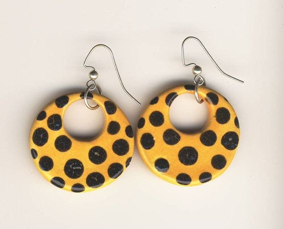 Yellow and Black PolkaDot Earrings round hoops with by mariagotart, $10.99