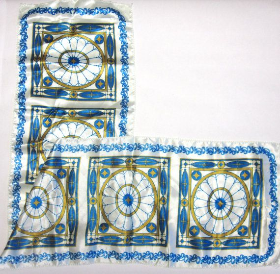 Gold Blue White Scarf Hair Wrap Head Accessory by sweetie2sweetie