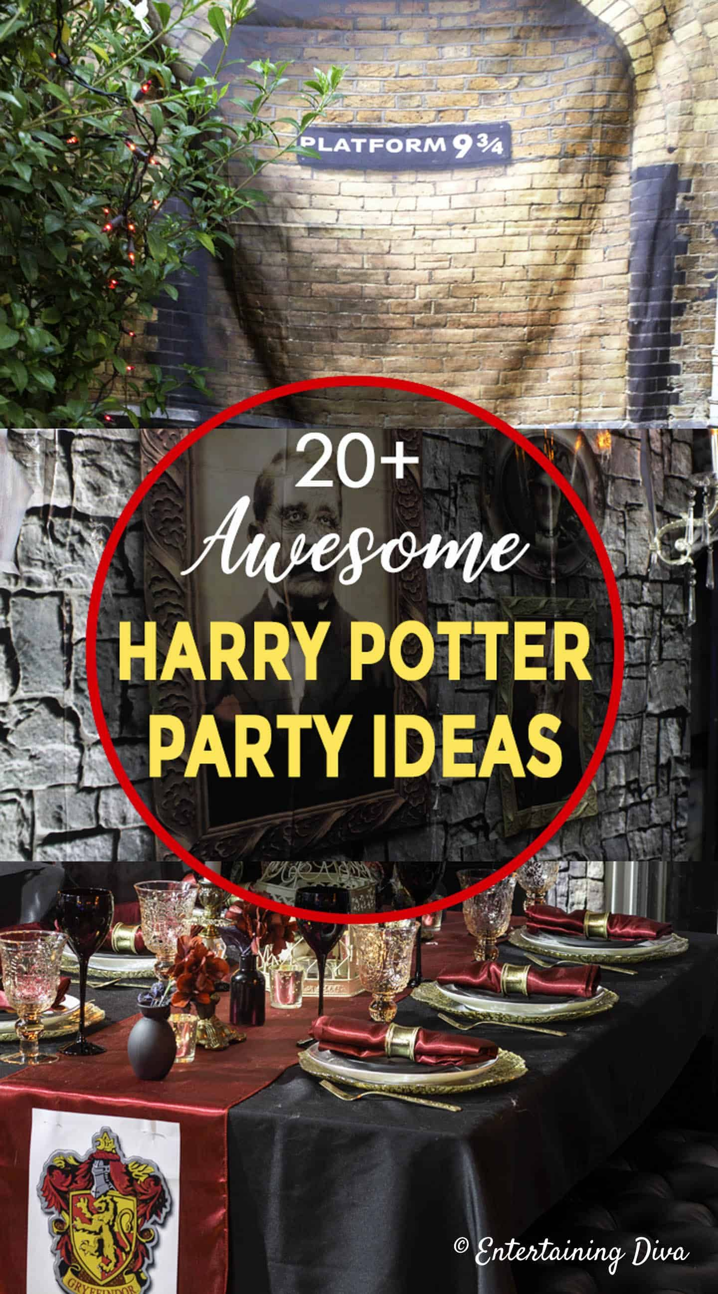 20 Awesome Harry Potter Party Ideas Entertaining Diva From House To Home Harry Potter Party Decorations Harry Potter Party Harry Potter Halloween Party