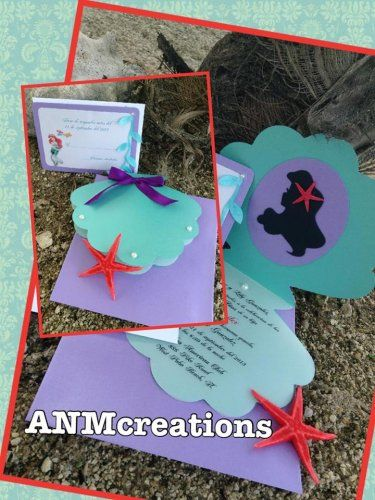 Disney Little Mermaid Ariel Handmade Custom Personalized - Custom ariel birthday invitations