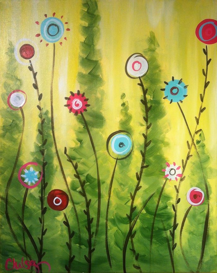 Pin von martina auf blumenwiese malerei blumen wiese und blumen - Einfache acrylbilder ...