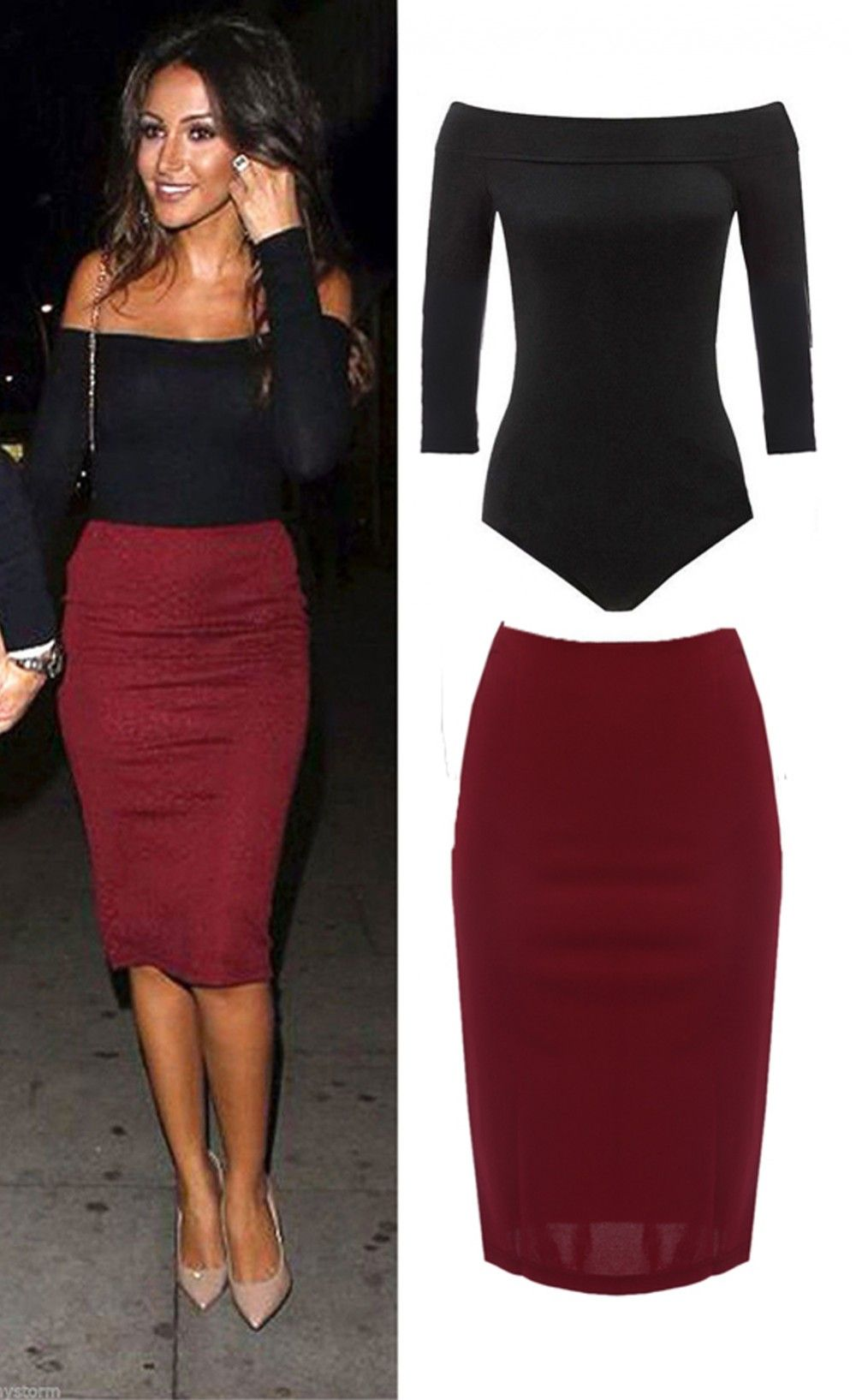 $35.99 Long Sleeve Off Shoulder Bodysuit Top Midi Skirt Two Pieces ...