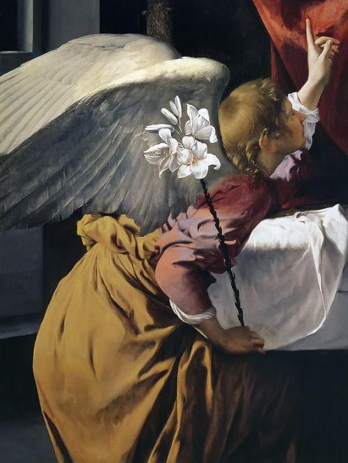 poboh: Annunciatio, (detail)  Orazio Gentileschi. Italian Baroque Era Painter, (ca.1563-1639)