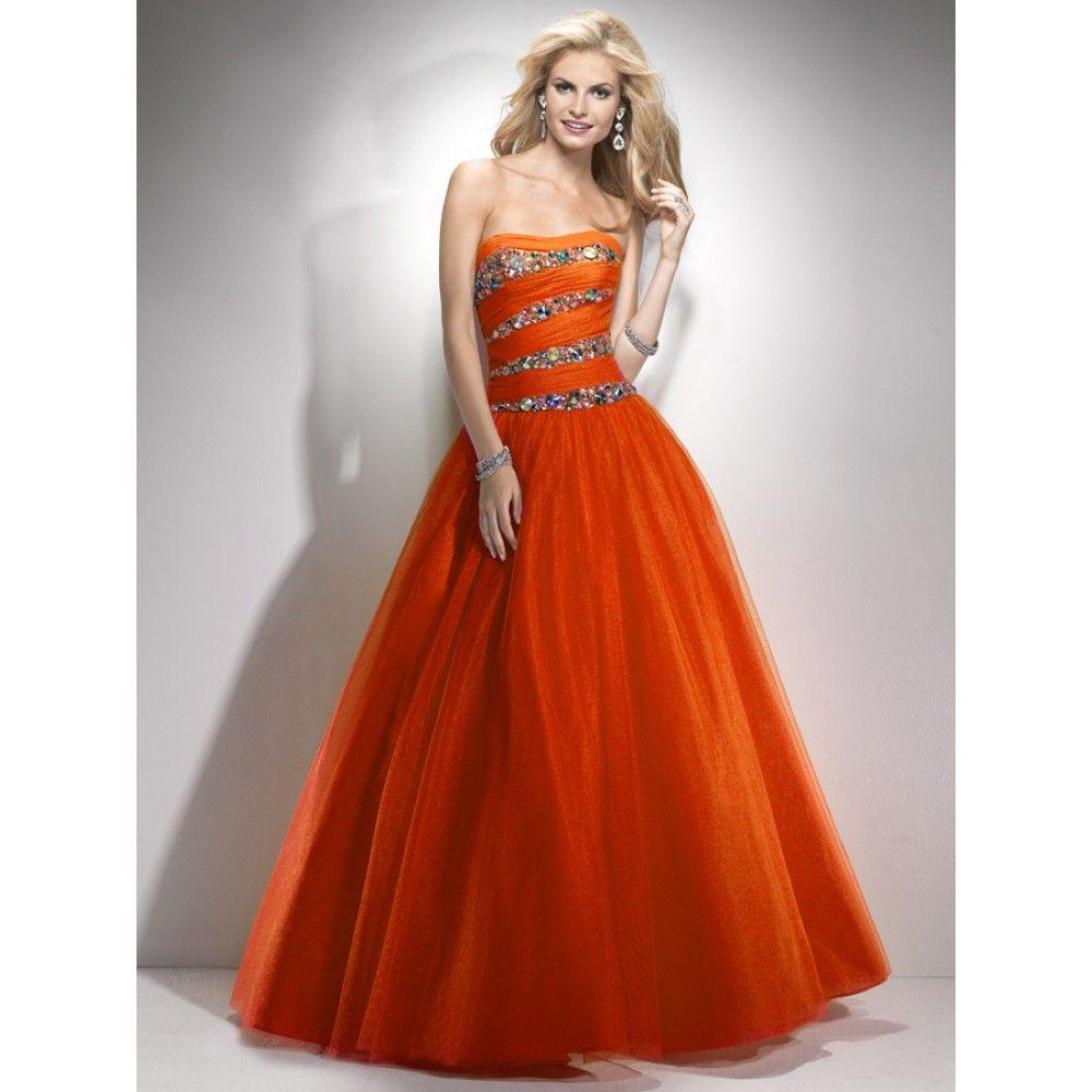 Orange Prom Dresses | ... orange prom dress ball gown strapless ...