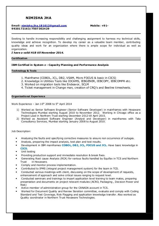 Mainframe Resume Sample Resume Nimisha Jha Mainframe Developer