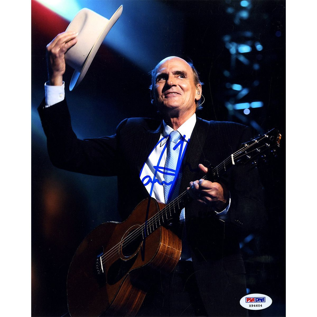 James Taylor Signed Vertical Tipping Hat 8x10 Photo (PSA