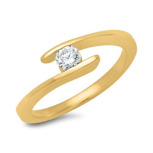 Verlobungsring 750 Gelbgold Mit Diamant 0 25 Ct Vr0088 Stone