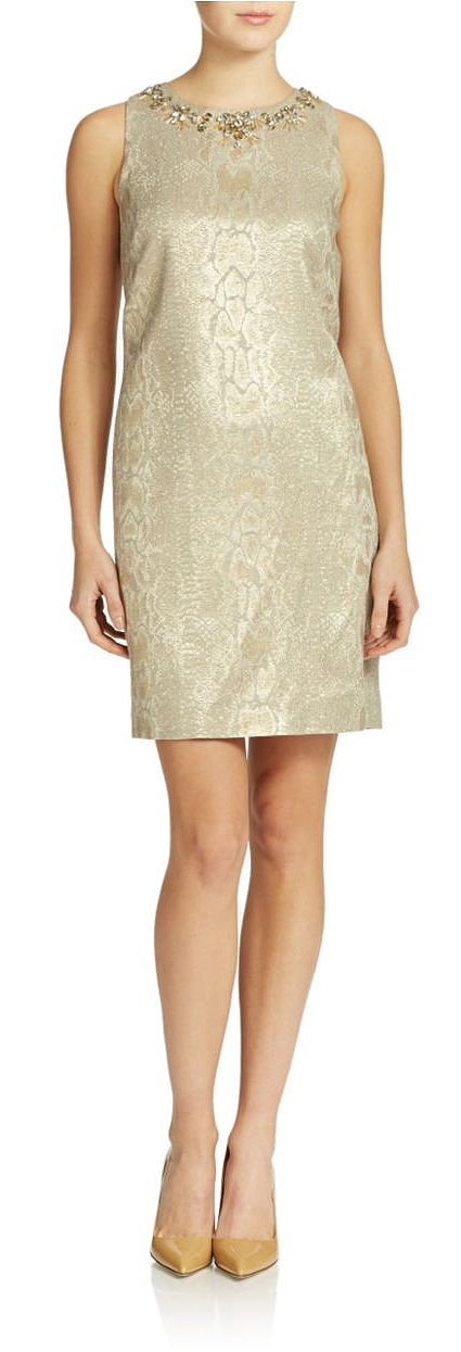 Vince Camuto Snakeprint Dress Gold