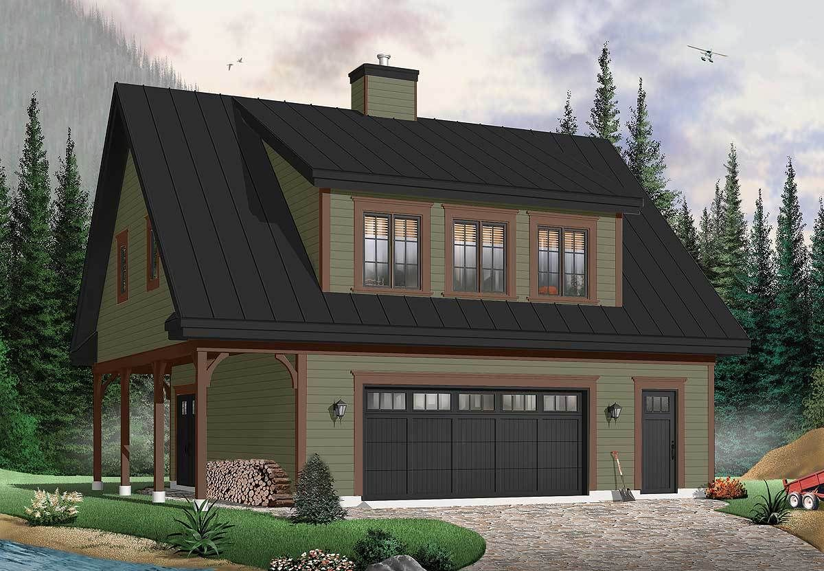 Plan 21550DR: Carriage House with Shed Dormer