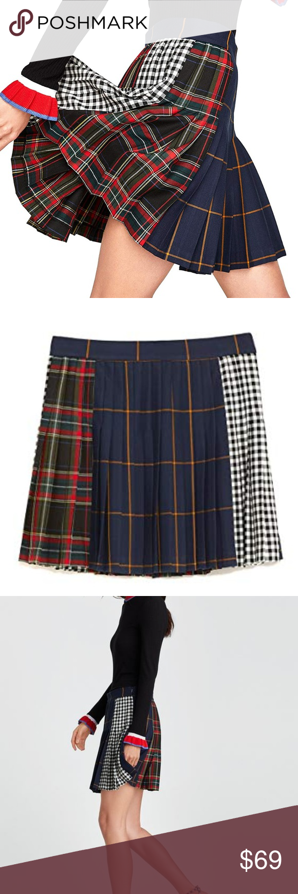 e45afe5eb2 Zara Woman Checked Mini Skirt 7149/041 Red Plaid L Zara Woman Checked Mini  Skirt U36 7149/041 Red Plaid Large box pleats New with Tags Christmas  Holiday ...