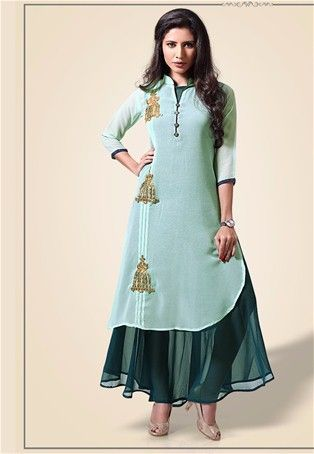 a2f3609162 Readymade sea green georgette partywear kurti stylishkurti stylishtunic designer  nikvik sale usa australia canada tunic dress