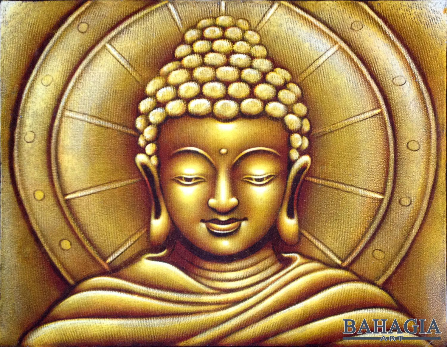 Gold Buddha Face Large Oil Painting by BahagiaArt on Etsy | Oil ...