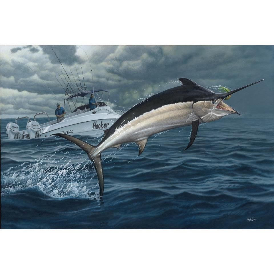 The Black marlin painting is now finished and ready for framing ...