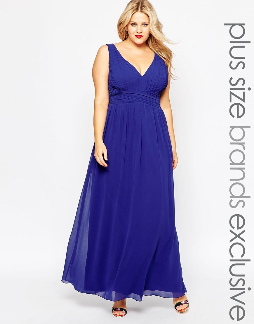 Little Mistress Plus Plunge Neck Maxi Dress | curves and lovely ...