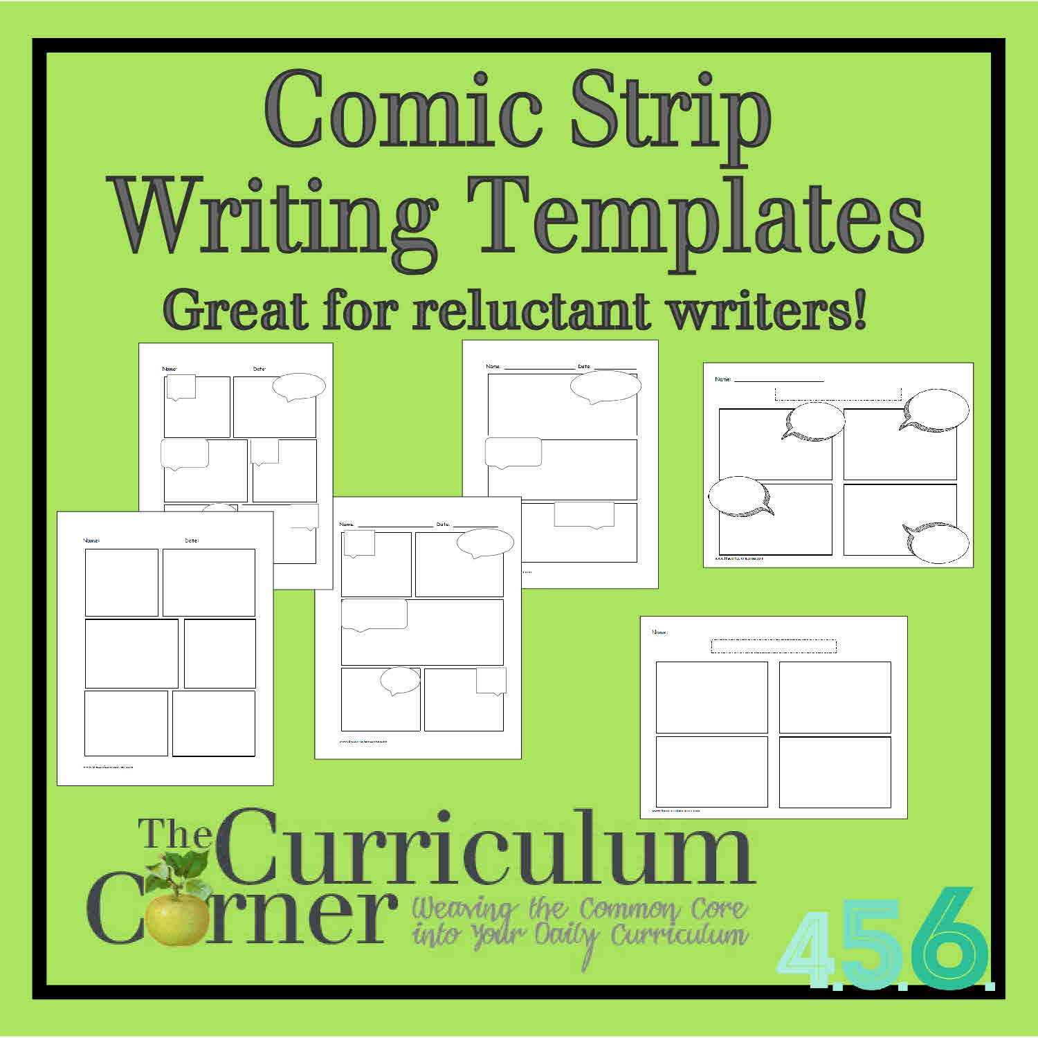 Comic Strip Writing Templates  Curriculum Homeschool And School