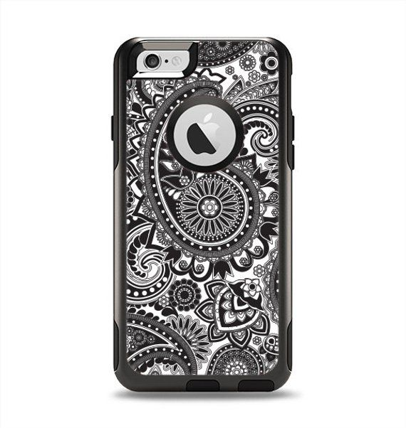 1a026b9bed The Black and White Paisley Pattern V6 Apple iPhone 6 Otterbox Commuter  Case Skin Set