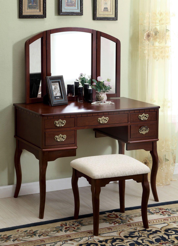 Cm Dk6405ch 3 Pc Ashland Chippendale Style Cherry Finish Wood Bedroom Make Up Vanity Sitting Table Set With Tri Fold Mirror Vanity Table Set Bedroom Vanity Set Vanity Table