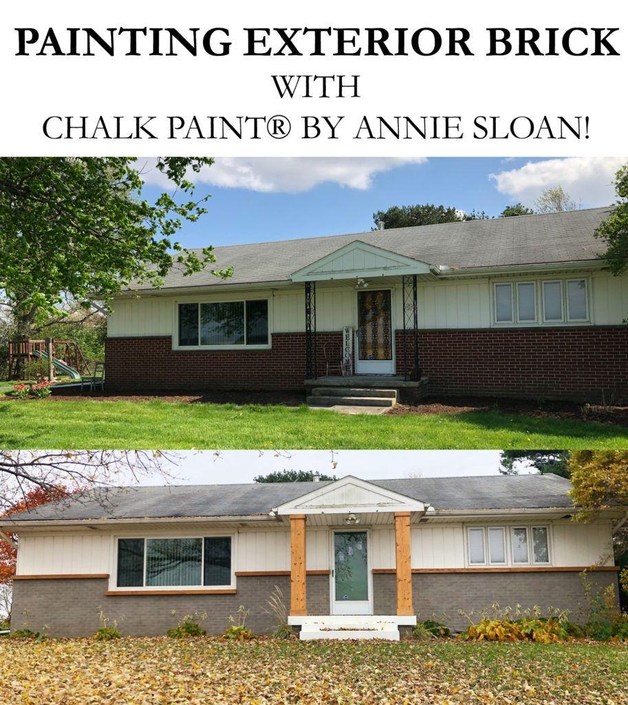 Painting Exterior Brick With Chalk Paint Brick Exterior House Painted Brick House House Paint Exterior