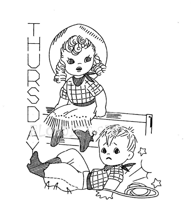 Vintage Embroidery Pattern 7216 Cowboy Children