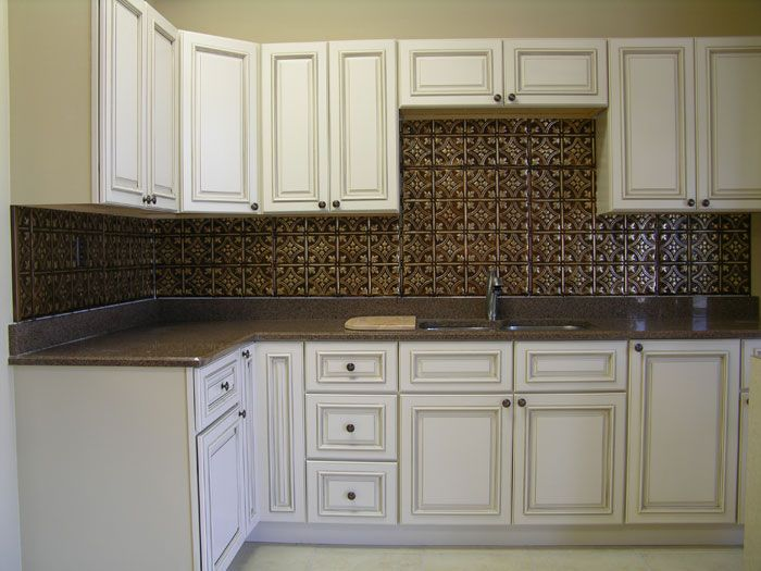 Copper Tin Backsplash And Distressed White Cabinets  The Beauteous Tin Backsplash For Kitchen Inspiration Design