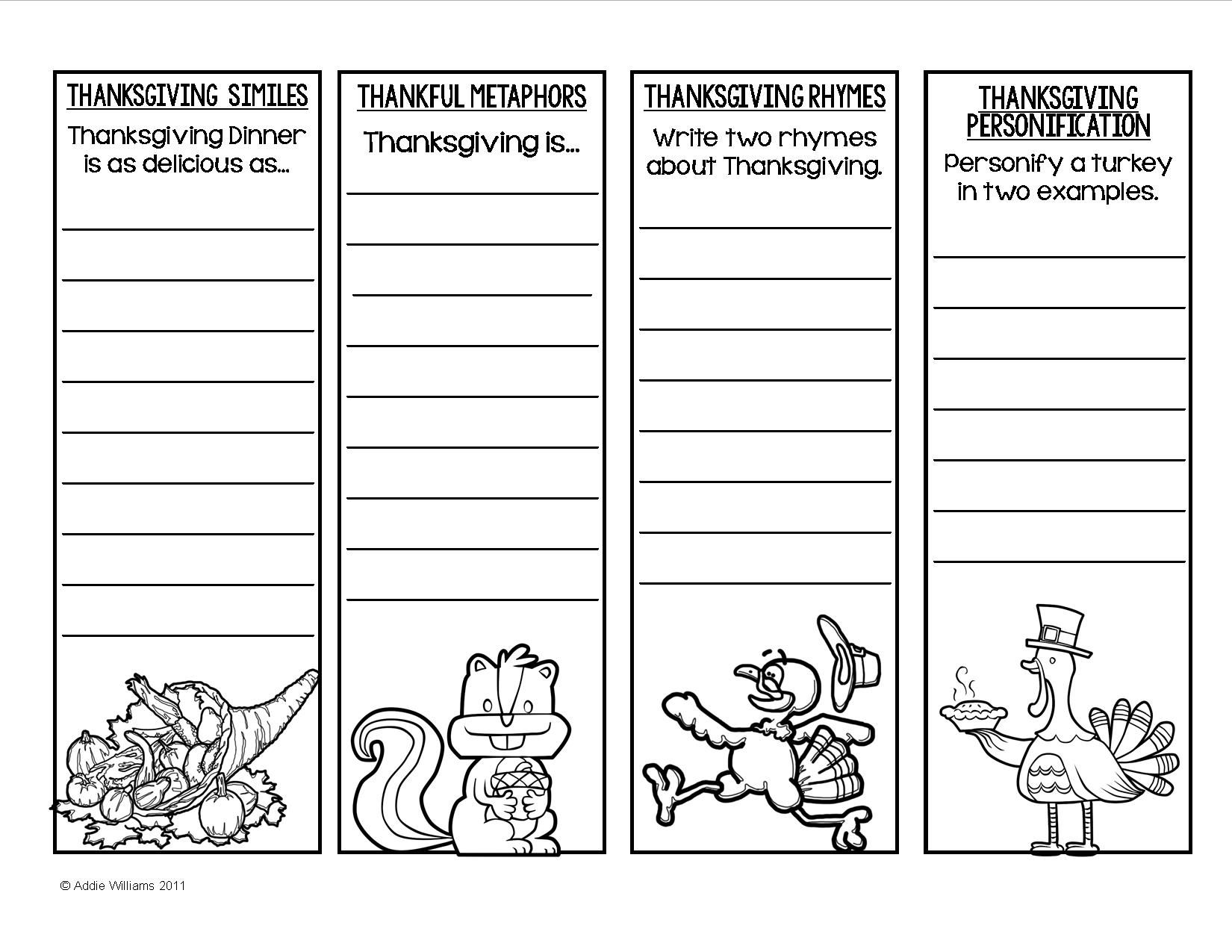 Thanksgiving Poetry Figurative Language Bookmarks