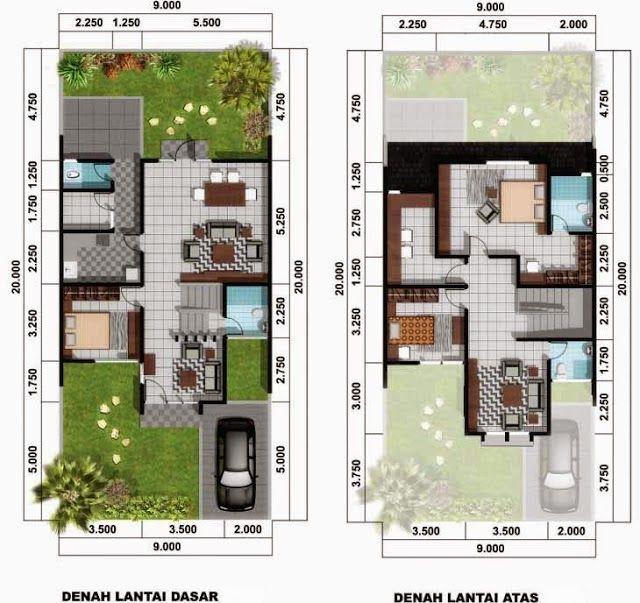 denah rumah minimalis type 21 2 lantai | Denah rumah ...