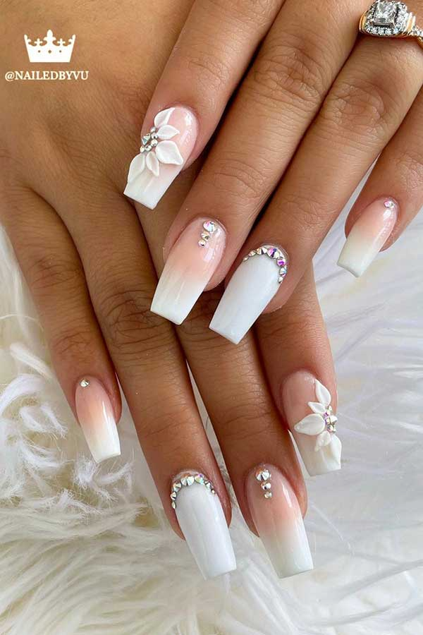 63 Pretty Wedding Nail Ideas For Brides To Be Stayglam In 2021 Bride Nails Wedding Toe Nails Wedding Day Nails