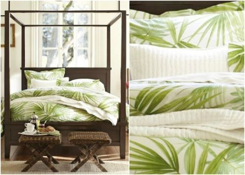 Pottery Barn Palm Frond King Duvet Cover 2 Euro Shams 2 Std Shams Palm Tree Ebay Tropical Bedrooms Tropical Living King Duvet Cover